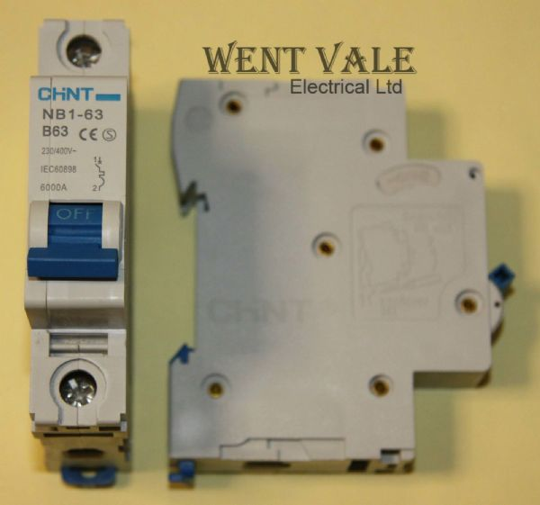 Chint NB1-63-B63 - 63a Type B Single Pole MCB Used